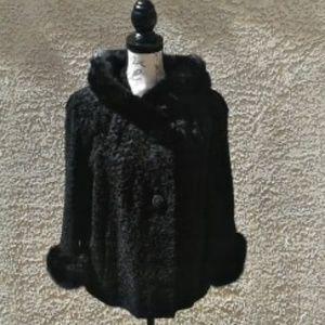 VINTAGE Cutler 50s/60s Velvet Coat w/Fur Trim